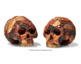 Leather Human Skull Sculptures