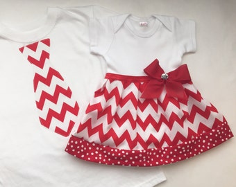 Boutique SIBLING SET..Brother sister set..dress and tie one piece or T-shirt... in red chevron and polka dots