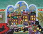 ORIGINAL PAINTING, 7 Black Cats in Paris in the Moonlight with 55 and 57 Chevy by the Eiffel Tower, D M Laughlin