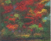 ORIGINAL PAINTING, Red Maples by Brook Pool, by DM Laughlin