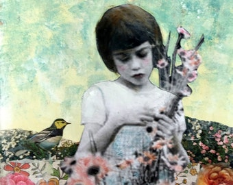 Flowers and Spring  vintage girl painting  Heather Murray