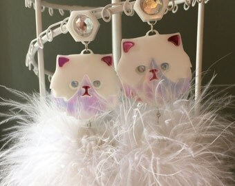 Persian Kitty Cat Laser Cut Acrylic and Pom Pom Earrings