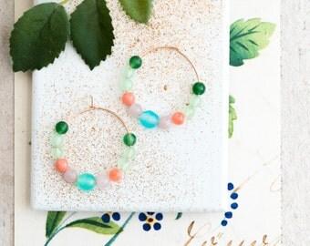 Blue Agate and Gemstone Hoop Earrings, Beaded Hoop Earrings,Gold Hoops, Silver Hoops