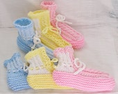 Womens Booties, 6 Handknitted Pairs in Assorted Pastels, Custom for Baby Shower Prizes