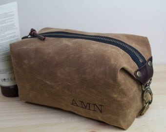 Personalized Dopp Kit, Standard Size Toiletry Bag, Expandable Travel Bag - Water Resistant Lining, Waxed Canvas - Brush Brown