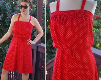 Candy APPLE 1970's Vintage Bright Red Summer Dress with White Swiss Polka Dots // size Small