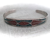 Vintage sterling silver cuff bracelet with red and turquoise inlay, small cuff bracelet,