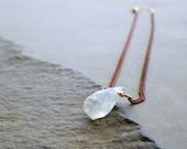 tiny crystal quartz necklace, raw clear quartz, dainty copper chain necklace, minimalist copper delicate necklace