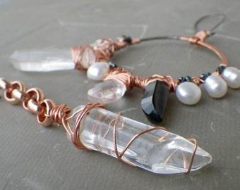 crystal quartz points earrings, mismatched statement earrings, asymmetrical earrings, copper wire wrap hoop earrings, smokey quartz pearl