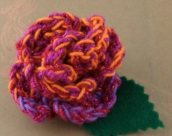 Crocheted Rose Barrette - Red, Orange, and Purple Sparkly (SWG-HB-ZZ09)