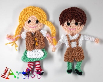 Hansel and Gretel Crochet Applique