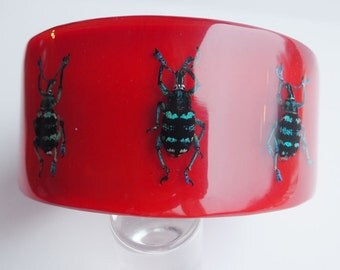 Fun large red lucite bracelet with exotic real insects