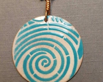 Enameled Turquoise and White Spiral Circle Pendant