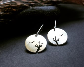 Zen Bird Earrings, hand pierced sterling silver disk with bird and Cactus motif