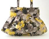 grey purse, womens handbag, small tote bag, shoulder bag, retro purse, fabric bag, retro bag, floral handbag, pleated bag, ready to ship