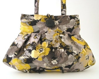 grey purse, womens handbag, small tote bag, shoulder bag, retro purse, fabric bag, retro bag, floral handbag, pleated bag