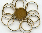 """Brass ENDLESS HOOP EARRINGS Vintage (5 pair) 10 pieces 22 mm 7/8"""" size jc hoopear22 MoRE AVAlLABLE"""