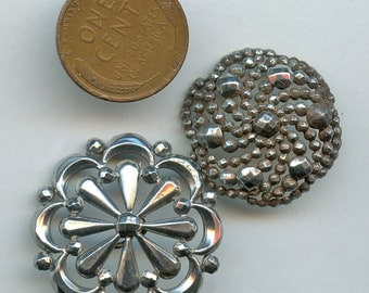 Pressed Steel Buttons Two (2) Victorian Silver Victorian Antique 2369