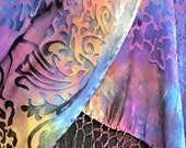 Hand Dyed Silk Shawl in Bamboo Burn Out Devore Pattern in Purples with Long Fringe