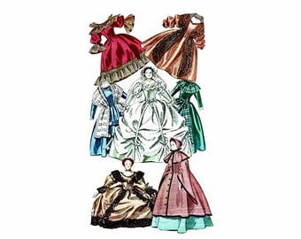 1940s Costumes for Godey Lady Book Dolls McCall 1292 Vintage Sewing Pattern Uncut Original Pattern