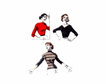 1950s Butterick 7490 Misses Bateau Neck Blouse Vintage Sewing Pattern Size 12 Bust 30