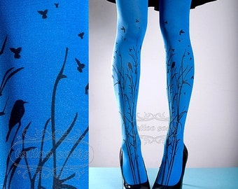 15%SALE/endsAUG30/ Tattoo Tights -  blue one size Forest Symphony full length closed toe printed tights pantyhose, tattoo socks, printed nyl