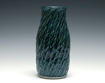Teal Vase with Carved Leaves