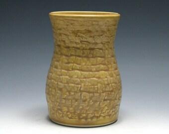 Dark Yellow Vase with Rumpled Texture