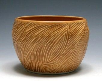 Hand Carved Bowl with Butterscotch Glaze, Ceramic Bowl, Handmade Pottery Bowl, Rustic Decor