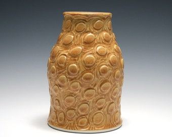 Orange Vase with Hand Carved Circle Pattern