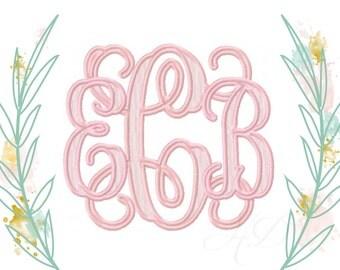 "9"" inch and 6.5"" inch Interlocking Embroidery Font Vine Monogram Grace Jumbo X-Large Font"