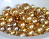 4-12mm GOLD MIX Glass Pearl Coated Mix Round Beads (70) RD44