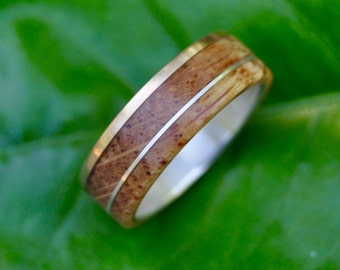 Size 9.5 READY TO SHIP Bourbon Barrel Gold and Silver Un Lado Asi Wood Ring - with 14k yellow gold edge and recycled sterling silver inlay
