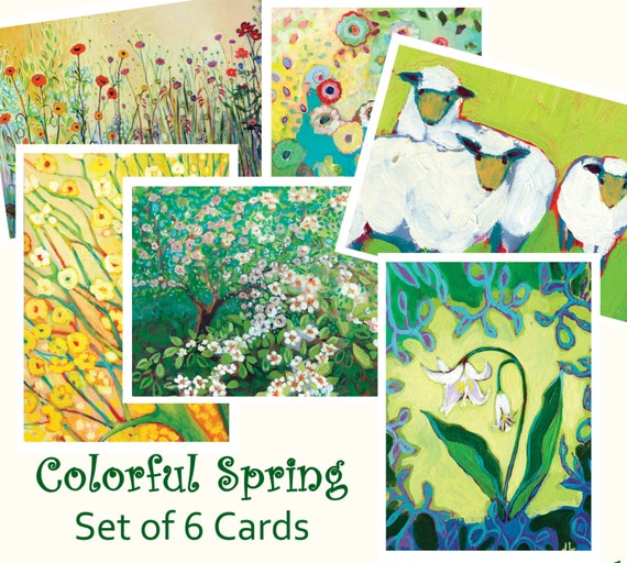 Colorful Spring - set of Blank Note Cards by Jenlo