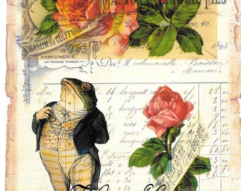 Frogs*Canvas paper print*Frog  very dapper French ledger roses Think of me my dear one*O darling*8x10 inches*Free shipping in the USA