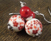 Red flower earrings, painted ceramic beads, bamboo coral and silver handmade earrings