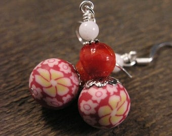 Red, white and yellow flower design handmade polymer clay beads, glass, stone and silver earrings