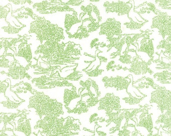 SALE - Gooseberry - Toile Waddle in Cloud and Leaf: sku 5012-11 cotton quilting fabric by Lella Boutique for Moda Fabrics - 1 yard