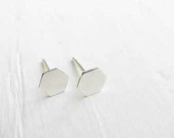 Tiny Hexagon Studs Sterling Silver Honeycomb Earrings Beehive Jewelry Minimal Geometric Gifts for Sister or Best Friend