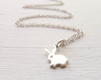 Bunny Necklace Dainty Rabbit Pendant in Sterling Silver Easter Basket Gift