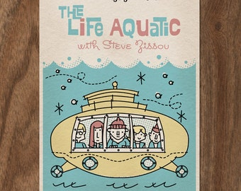 THE LIFE AQUATIC with Steve Zissou 22x16 Movie Poster Print - Mid Century Design