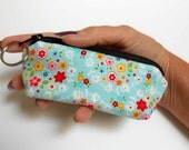 Coin Purse Mini Key Ring Zipper Pouch ECO Friendly Padded Lip Balm Case Earbud Pouch Blue Bliss