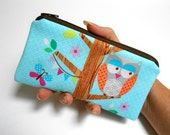 Owls Zipper Pouch Smart Phone Pouch ECO Friendly Padded NEW SIZE Owlery in Aqua