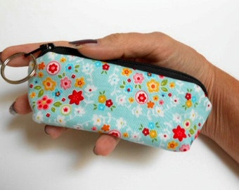SALE Mini Key Chain Zipper Pouch ECO Friendly Padded Lip Balm Case NEW Blue Bliss