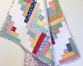 Baby Girl Quilt Log Cabin Scrappy Style OOAK 1930s feedsack repro Nursery Crib Bedding