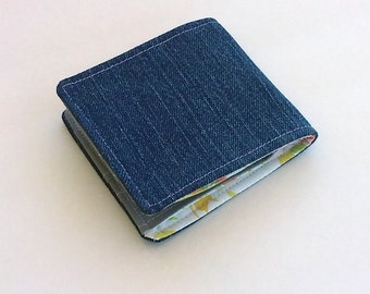 Customizable Denim Wallet with a Vintage Floral Lining, Vegan, Slim Cotton Wallet perfect for Summer for Men or Women