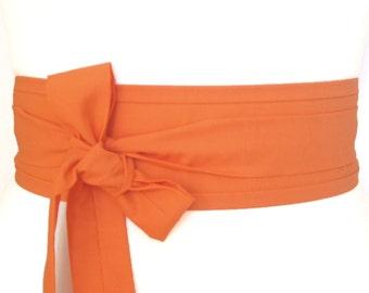 Orange cotton fabric Oriental geisha eastern style Obi waist belt sash ribbon tie ... Halloween Pumpkin orange
