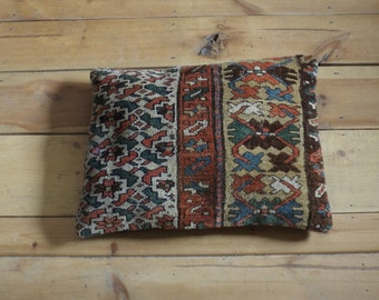 Antique Persian rug pillow cushion