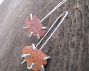 Beach Stone Dangling Earrings Sterling Silver Rough Terra Cotta Drop Earrings