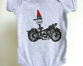 Biker Gnome Short Sleeved Cotton Infant Onesie, Infant One Piece, Baby Gift, Baby Body Suit, Romper, Hand Screen Printed, NB- 24Mo.
